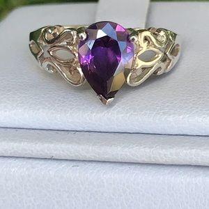 925 Pear African Amethyst Filagree Ring